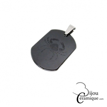Pendentif signe du zodiaque céramique noire Cancer