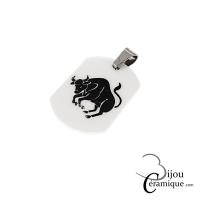 Pendentif signe du zodiaque céramique blanche Taureau