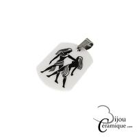 Pendentif signe du zodiaque céramique noire Gémeaux