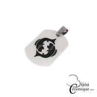 Pendentif signe du zodiaque céramique noire Poissons