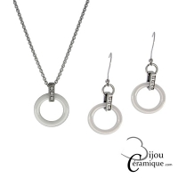 Parure bijoux en céramique blanche collier et boucles d'oreilles ornés de strass