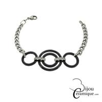 Bracelet céramique noire chaîne maille gourmette