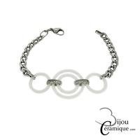 Bracelet céramique blanche chaîne maille gourmette