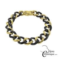 Bracelet maille gourmette en céramique noire et acier doré