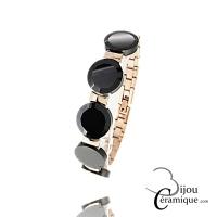Bracelet céramique facettée et acier inoxydable pour Femme