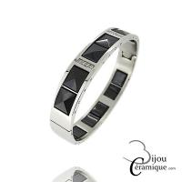 Bracelet Jonc en céramique noire et acier Femme