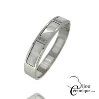 Bracelet Jonc en céramique blanche et acier Femme