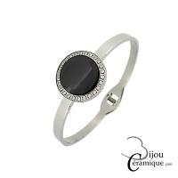 Bracelet clip pastille céramique noire