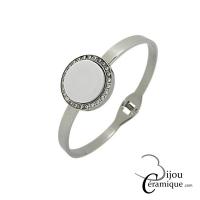 Bracelet clip pastille céramique blanche