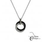 Collier céramique noire anneaux entrelacés