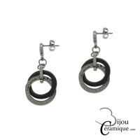 Boucles d'oreilles céramique anneaux entrelacés