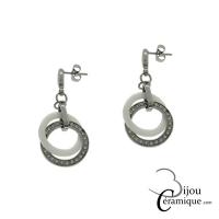 Boucles d'oreilles céramique blanche anneaux entrelacés