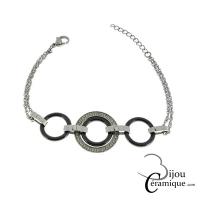 Bracelet acier céramique noire mailles rondes orné de strass