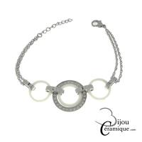 Bracelet acier céramique blanche mailles rondes orné de strass