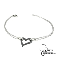 Bracelet coeur céramique