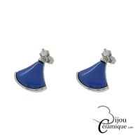 Boucles d'oreille acier et céramique bleu